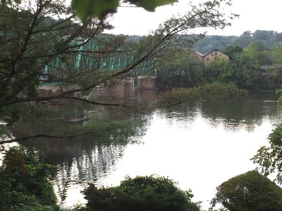 The view of the Delaware River and Upper Black Eddy - Milford Bridge from our private terrace.