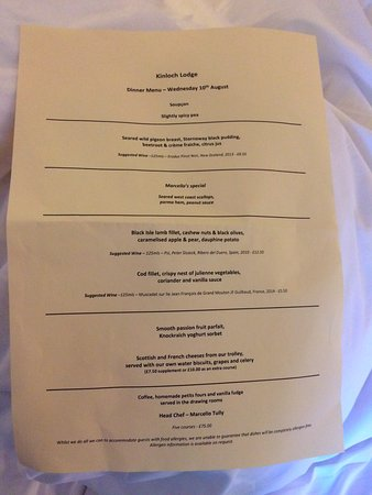 Sleat, UK: What a menu!!!