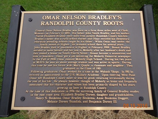 Moberly MO Gen Omar Bradley's Randolph CO Plaque