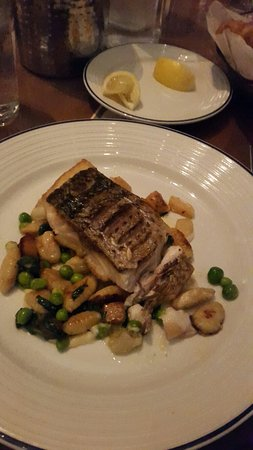 Island Creek Oyster Bar: Stripped bass and fish& chips