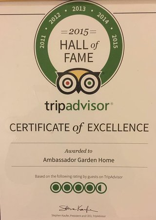 hall of fame award 2015 - Picture of Ambassador Garden Home
