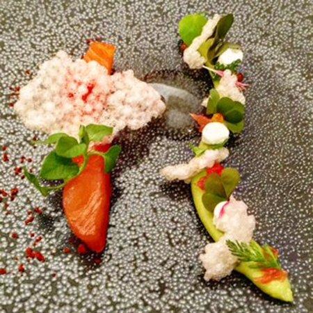 Marinated Scottish salmon with avocado cream, grapefruit and wasabi marshmallow (210730438)