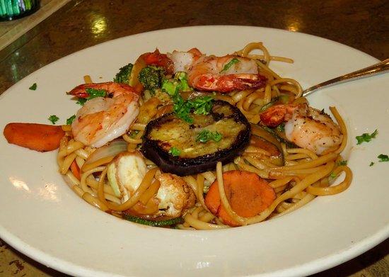 Pita Jungle: Ginger noodle stir fry with carrots, broccoli, eggplant & shrimp!