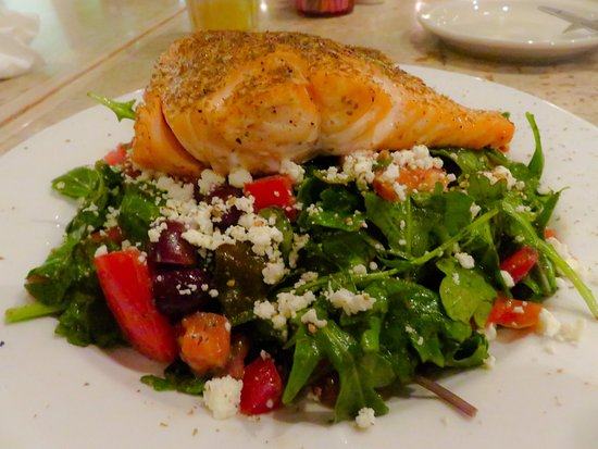 Pita Jungle: The new Za'Atar salmon salad with red peppers, Greek olives, tomato and feta cheese - delicious!