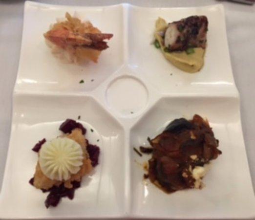 Appetizer sampler : grilled octopus, cod bite, beets, eggplant