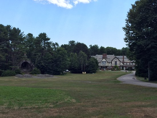 Franciscan Guest House: View of the Church and Lourdes shrine on the property. .