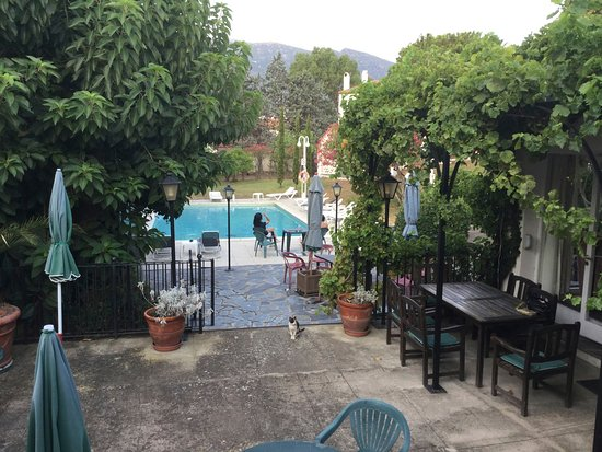 Hotel Misty: view from breakfast area towards pool