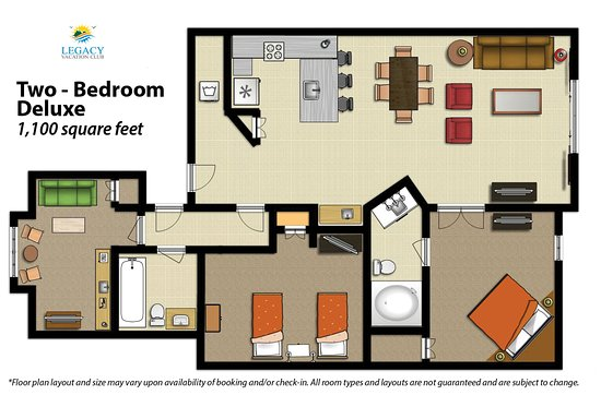 2 bedroom floor plans. Legacy Vacation Resorts  2 Bedroom Floor Plan Deluxe Picture of