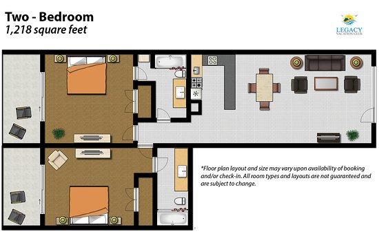 Legacy Vacation Resorts-Indian Shores: 2 Bedroom Floor Plan