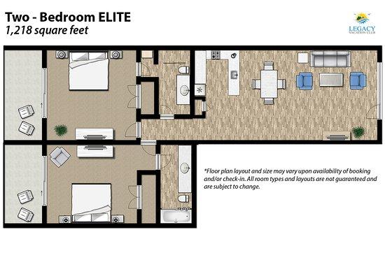 Legacy Vacation Resorts-Indian Shores: 2 Bedroom Floor Plan Elite