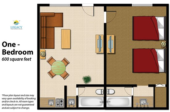 Legacy Vacation Resorts-Reno: 1 Bedroom Floor Plan