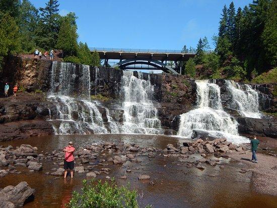Two Harbors, MN: The main large falls and Hwy bridge