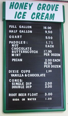 West Bend, WI: The Honey Grove Ice Cream menu