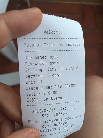 Hotel Sa Riera : View of the WIFI ticket they give you, when the code and password