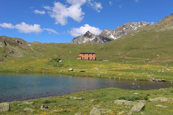 Provincia di Sondrio, Italia: Rifugio Viola visto dal Lago di mezzo