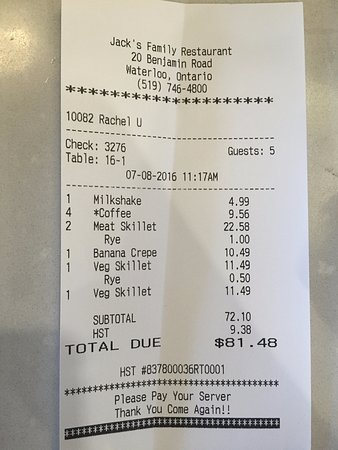 St. Jacobs, كندا: Our bill. See for yourself how reasonably priced it is!