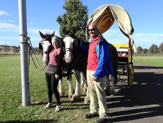 Pokolbin, Australia: Renee and Gregg with the gentle giants.