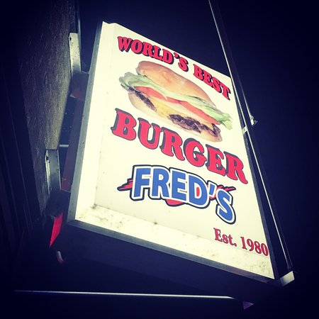 Burlington, WI: FRED's World's Best Burger Sign - Street View