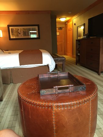 Wyoming Inn of Jackson Hole: look back from the window seat, bed, t.v. foot stool