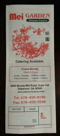 Oakwood, GA: Mei Garden - Contact Info, directions, hours