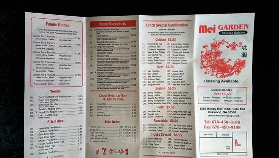 Oakwood, GA: Mei Garden - To-Go Menu - front
