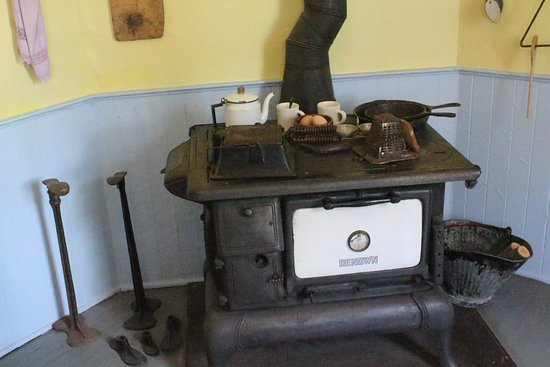 Harrisville, MI: Cook stove in the kitchen.