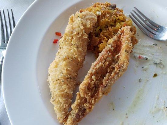 pier w crispy fried acadian redfish minus one piece already eaten