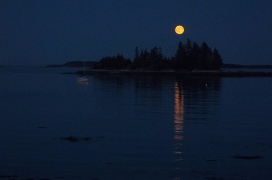 Lobster Buoy Campsites: Full moon over Penobscot Bay