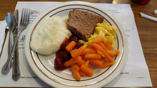 Dienner's Country Restaurant: Lunch: meatloaf, mashed potatoes, carrots, beets, and mac and cheese.
