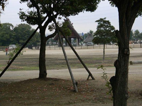 Izumi, Japan: 毎朝のウオーキングエリヤにある弥生遺跡公園。各種住居遺跡が復元されている。(古林)