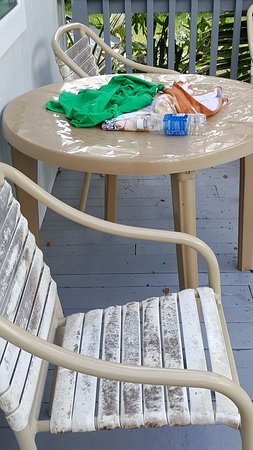 Pahoa, Hawái: Dirty mildewed stained chairs, that didn't happen over night but months of not cleaning