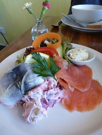 Water of Leith Cafe Bistro: Rollmop herring and smoked salmon with potato and beetroot salad, served with toast.