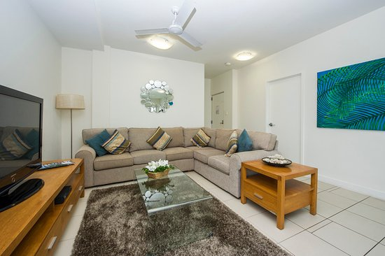 Beachside Magnetic Harbour Holiday Apartments : Living Area of one of the  Ground Floor Apartments