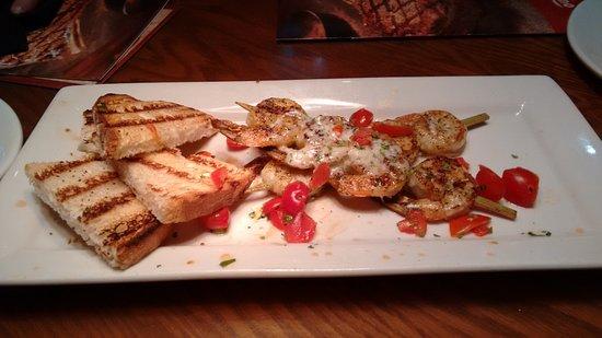 Outback Steakhouse: Wood fired shrimp (starter).