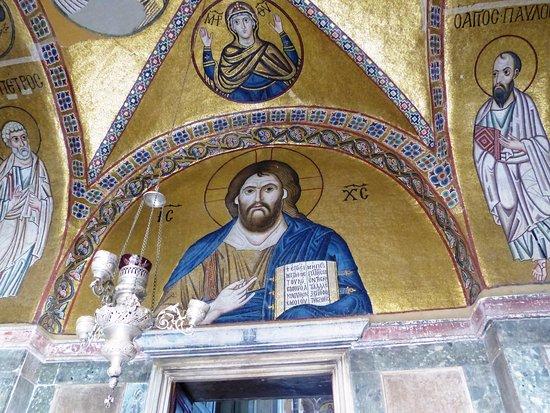 Central Greece, Greece: ο Ιησούς στον πρόναο ψηφιδωτό