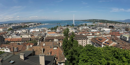 Lake Geneva Skyline From St Pierre Cathedral