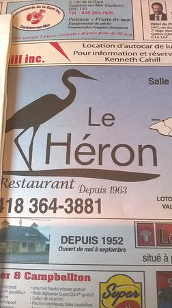 Restaurant Le Heron : The paper placemat for Le Heron.
