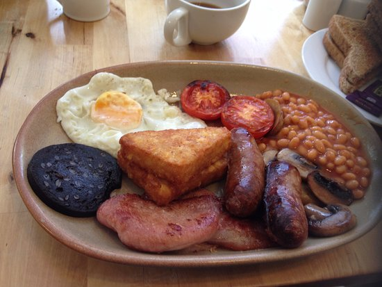 """Ilminster, UK: """"Large Breakfast"""" with added black pudding. Includes 2 rounds of toast."""