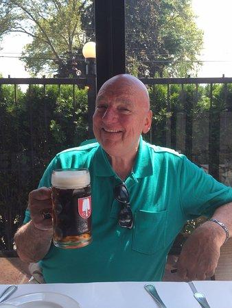 Whitestone, NY: Enjoying a Spaten Octoberfest beer at Jagerhaus