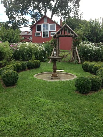 Wilton, CT: The Secret Garden in August and back of Weir House