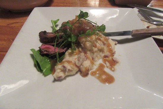 Jasper, GA: Steak with caramelized onions and mashed potatoes