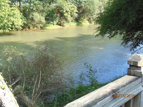 Morganton, NC: a riverside balcony along the walkway