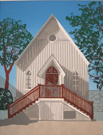 Cultural Center at Rocky Neck : Print of the Cultural center by Jane Keddy of Keddy Graphic