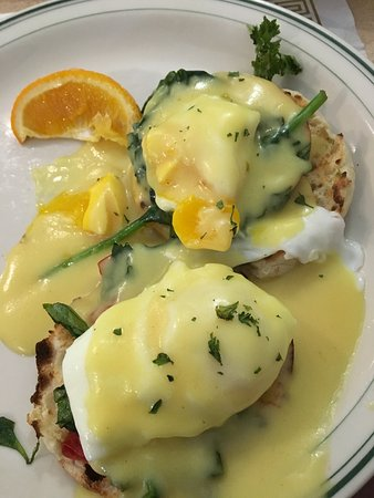 The Waffle Shop: Eggs Florentine - delicious w/ a side of fruit