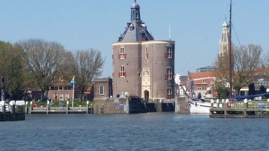 Enkhuizen, The Netherlands: View of old Enkhuisen from the ferry.