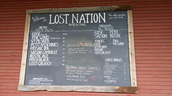 Morrisville, VT: Out door beer and special board.
