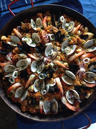 """Avon, CT: """"Small"""" paella from Deepwater Seafood: delicious!!!"""