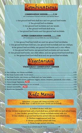 Versailles, KY : Combination, Vegetarian, Kidz Menu
