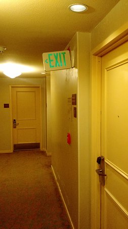 DoubleTree by Hilton Hotel Campbell - Pruneyard Plaza: Exit sign looks like it's trying to make an exit from the wall...