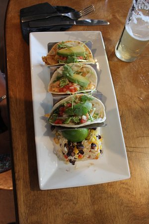 The Bruce Steakhouse : Chicken tacos were tasty and nicely presented with rice on the side.